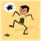 Unlucky Man. Illustration of a man in the street angry because he has walk onto a dog shit, but Royalty Free Stock Photo