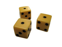 Unlucky roll. Three ones rolled on old dice Royalty Free Stock Photos