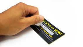 Unlucky Scratch Ticket. A scratch ticket on white background and with words saying 'try again'. The ticket has gift cards to be won in case the ticket will show Royalty Free Stock Photography