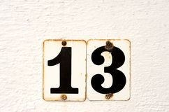 Unlucky Thirteen. The number thirteen in black on white background Stock Images