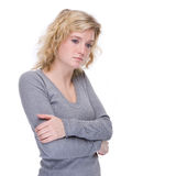 Unlucky woman. Full isolated portrait of a unlucky caucasian woman Stock Photography