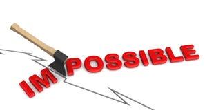 Unmöglich ist möglich Das Konzept des Änderns der Schlussfolgerung stock abbildung