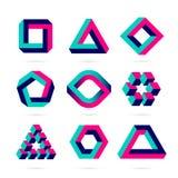 Unmögliche Formen, Gegenstände der optischen Täuschung vektor abbildung