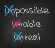 Unmögliches unfähiges unwirkliches Stockfotos