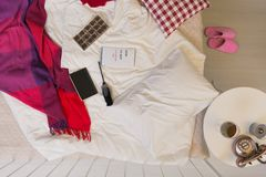 Unmade bed with a blanket Stock Photos