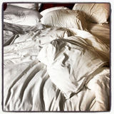 Unmade Bed Close-Up Royalty Free Stock Image