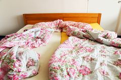 Unmade bed Stock Image