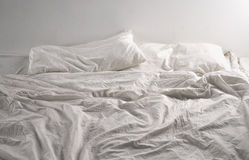 Unmade bed sheets Royalty Free Stock Photo