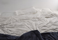 Unmade bed sheets Royalty Free Stock Image