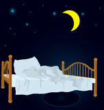 Unmade bed under moon vector Royalty Free Stock Photography