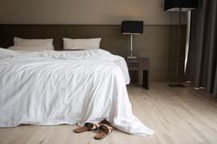 An unmade bed Royalty Free Stock Images