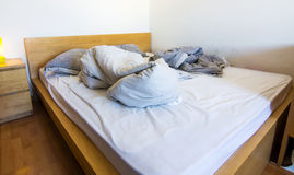 An unmade bed Royalty Free Stock Photos