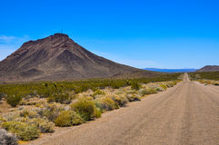 Unmaintained Route 66. This is an unmaintained part of the route 66 in the Mojave desert Stock Photos