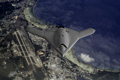 Unmamned Drone flying high Stock Image