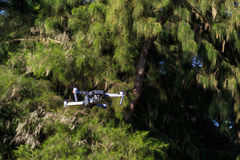 Unmanned aerial vehical with video camera hovers in the air. Thi Stock Photo