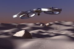Unmanned Aerial Vehicle drone in flight. Drone flying over the desert Stock Image