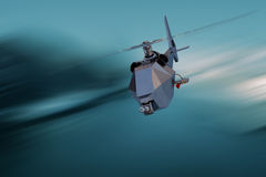 Unmanned Aerial Vehicle drone in flight. Unmanned Aerial Vehicle drone flying very fast Royalty Free Stock Images