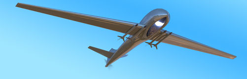 Unmanned Aerial Vehicle drone in flight. On light blue background Royalty Free Stock Image