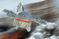Unmanned Aerial Vehicle drone in flight. In the middle of the war Stock Photo