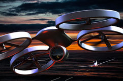 Unmanned Aerial Vehicle drone in flight Royalty Free Stock Photography