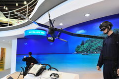 Unmanned aerial vehicle (UAV) Skyblade 380 on display at Singapore Airshow 2012 Royalty Free Stock Images