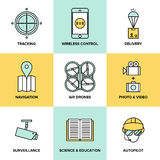 Unmanned aerial vehicles flat icons royalty free illustration