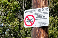 Unmanned Aircraft Drones Phohibited. Unmanned Aircraft Drones Prohibited near Golden Gate Bridge royalty free stock photos