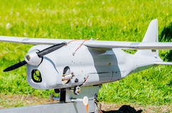 Unmanned aircraft with a propeller and wings. Unmanned aircraft with a propeller and wings Royalty Free Stock Photo