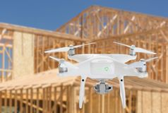Unmanned Aircraft System UAV Quadcopter Drone In The Air Over. Construction Site Stock Images