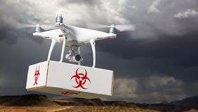 Unmanned Aircraft System UAV Quadcopter Drone Carrying Package. With Biohazard Symbol Label Near Stormy Skies Royalty Free Stock Image