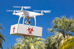 Unmanned Aircraft System UAV Quadcopter Drone Carrying Package. With Biohazard Symbol Label Over Tropical Terrain Stock Photo
