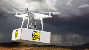 Unmanned Aircraft System UAV Quadcopter Drone Carrying Package. With Poison Symbol Label Near Stormy Skies Royalty Free Stock Images