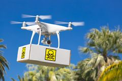 Unmanned Aircraft System UAV Quadcopter Drone Carrying Package. With Poison Symbol Label Over Tropical Terrain Stock Image