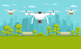 Unmanned delivery of packages, photography around the city. Transport concept of drones Royalty Free Stock Photography