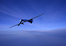 Unmanned drone in flight at dusk Stock Photography