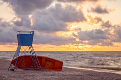 Unmanned lifeguard lookout Stock Photos