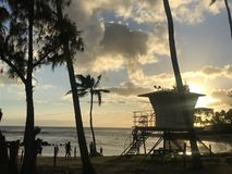 Lifeguard Station at Dusk. Unmanned lifeguard station at dusk on a beach in Kauai royalty free stock photo