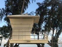 Lifeguard Station at Dusk. Unmanned lifeguard station at dusk on a beach in Kauai royalty free stock image