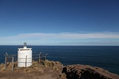Unmanned Lighthouse high on cliffs Stock Photography