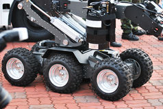 Unmanned Military Vehicle Wheels. A photo taken on the wheels of an unmanned military vehicle wheels Stock Photos