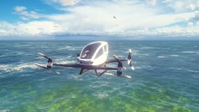An unmanned passenger air taxi flies over the sea. The concept of the future driverless taxi. 3D rendering of animation.