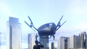 A unmanned passenger drone has flown in for its passenger. The concept of future unmanned aerial taxis. 3D rendering of