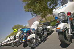 Unmanned police motorcycles parked Stock Photo