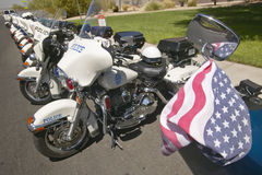 Unmanned police motorcycles parked in front of Valley View Rec Center, Henderson, NV Royalty Free Stock Photography