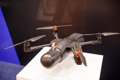 Unmanned reconnaissance aircraft at the exhibition Stock Photo