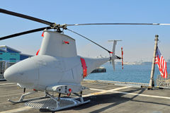Unmanned Reconnaissance Helicopter. An Unmanned Reconnaissance Helicopter on the Hanger Deck of a U.S. Navy Warship stock photography