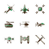 Unmanned robots flat color icons Stock Image