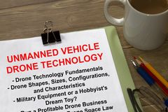 Unmanned vehicle drone technology seminar concept. With topics on a cover sheet of a lecture Stock Images