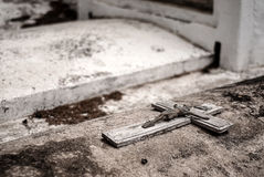 Unmarked grave, very old, with crucifix of Christ Royalty Free Stock Photo