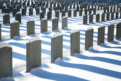 Unmarked graves in the snow Stock Photography
